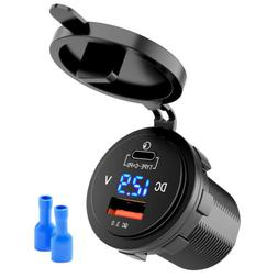 USB-C Car Charger USB Quick Charge 3.0 TypeC Charger Socket