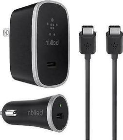 Belkin USB-C Charger Kit + Cable Car And Home Charger Bundle