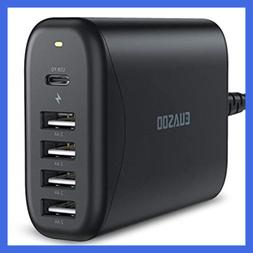 USB C Wall Charger Multi Port Desktop 60W 5 Charging Station