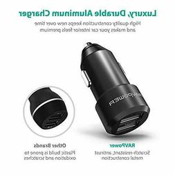 USB Car Charger RAVPower 24W 4.8A Metal Dual Car Adapter,