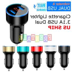 USB Car Charger Adapter Dual 2 USB Smart Port Fast Charging