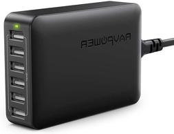 USB Charger RAVPower 60W 12A 6-Port Desktop USB Charging Sta