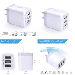 USB Charger Cube Wall Plug 3.1A 3 Muti Port Adapter Power Ch