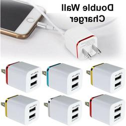 USB Double Wall Fast Charger Adapter 1A 2A 5V For iPhone 6 7