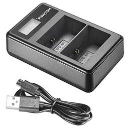Neewer USB Dual Battery Charger with LED Display for Canon L