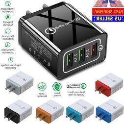 3 Port USB Home Wall Fast Charger QC 3.0 for Cell Phone iPho