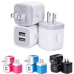 USB Wall Charger 2.1A Dual Port Phone Charging Base Cube Cha