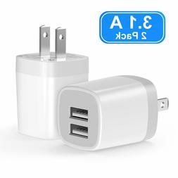USB Wall Charger, 3.1A 2-Pack Dual Port USB Wall Charger Uni