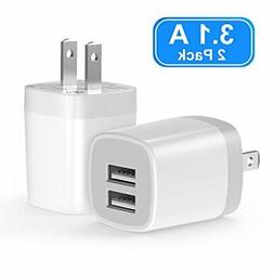 USB Wall Charger, Vogek 3.1A 2-Pack Dual Port USB Wall Charg