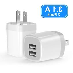 USB Wall Charger Vogek 3.1A 2-Pack Dual Port USB Wall Charge