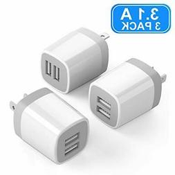 USB Wall Charger Vogek 3.1A 3-Pack Dual Port USB Wall Univer