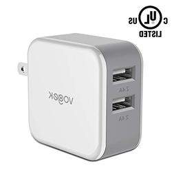 USB Wall Charger, Vogek 4.8A 24W Dual Port USB Wall Charger