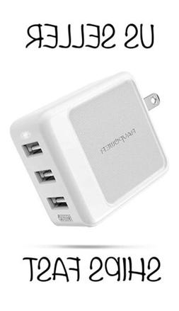 USB Wall Charger Upgraded RAVPower 3-Port 30W Travel Multi C