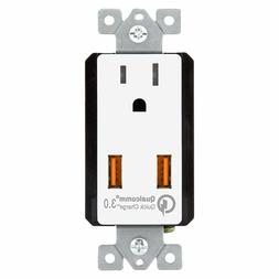 USB Wall Outlet Quick Charge 3.0 15A Receptacle TOPGREENER T