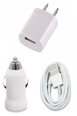 Wall Charging Charger Adapter 3FT USB Data Cable Car Charger